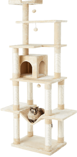 Creative and modern cat tree or cat tower with a hammock