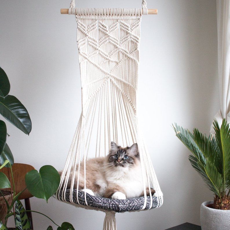 Modern and creative hanging cat hammocks from etsy shop