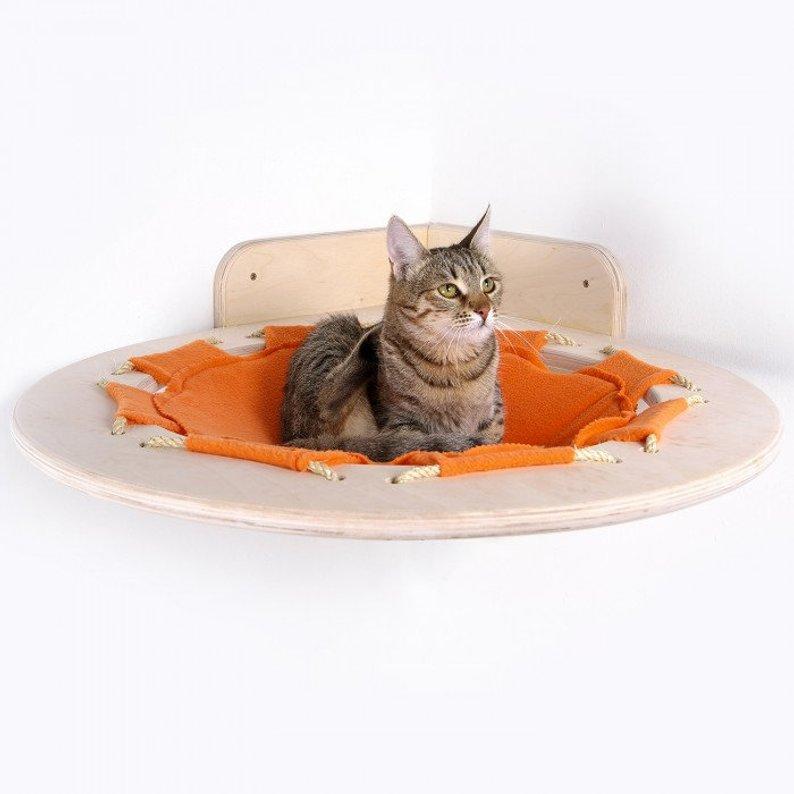Creative wooden corner hammock for your cat
