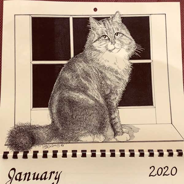 2020 Farmhouse Greetings Calendar of CATS drawn and printed by LC DeVona of Afton, NY