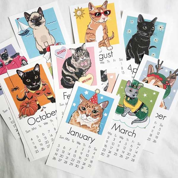 2020 Cat Calendar - Printed on Recycled Linen Paper - Mini Desk Size