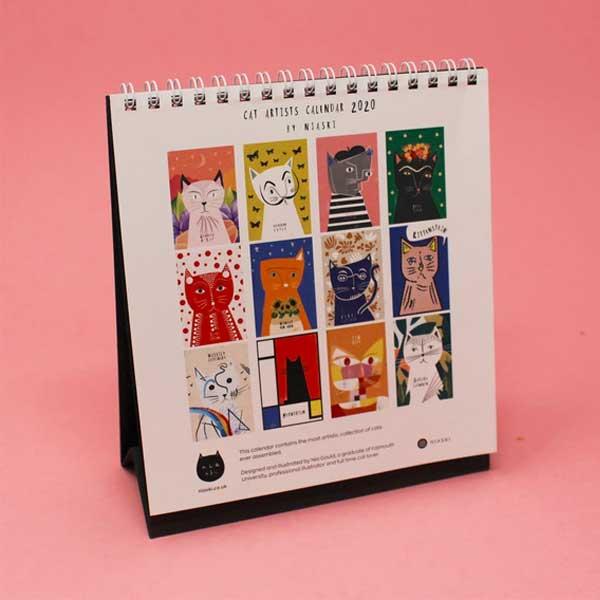 2020 Cat Artists Desk Calendar