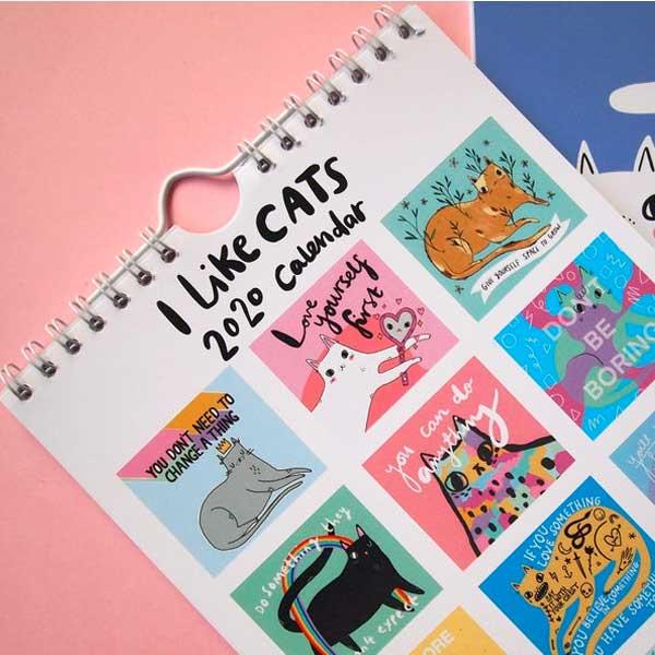 Cat Illustration Calendar on Etsy