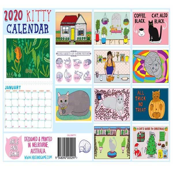 Cartoon cat calendar