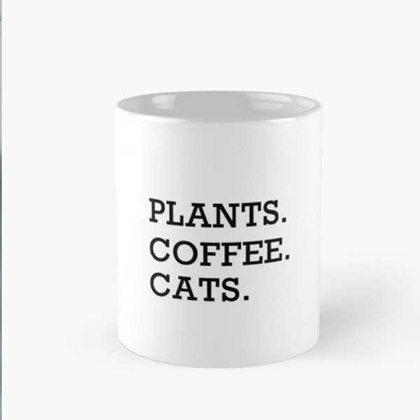 A cat mug for those who love plants, coffee, and cats