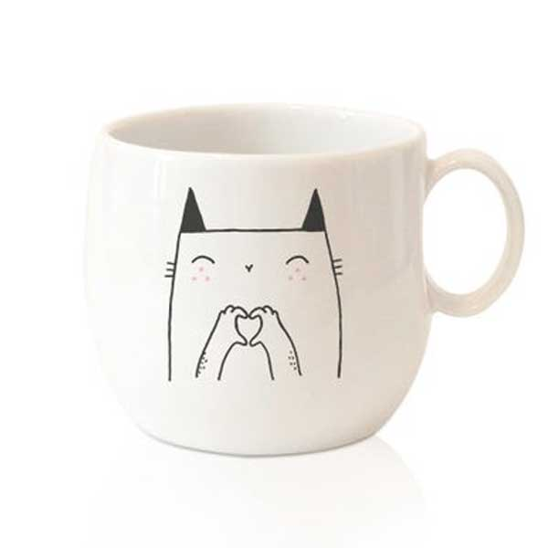 A cat mug with Love on Etsy