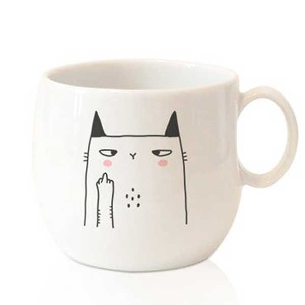 A crazy cat mug with Fuck on Etsy