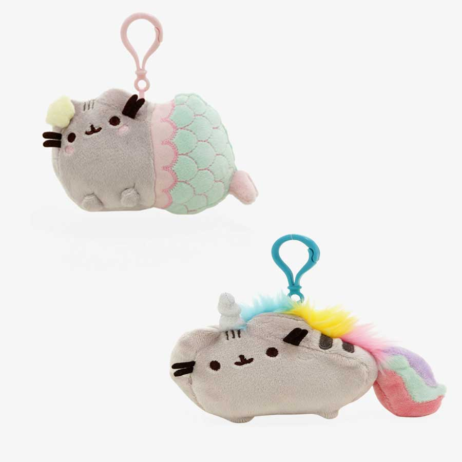 Pusheen mermaid and  unicorn bag clips