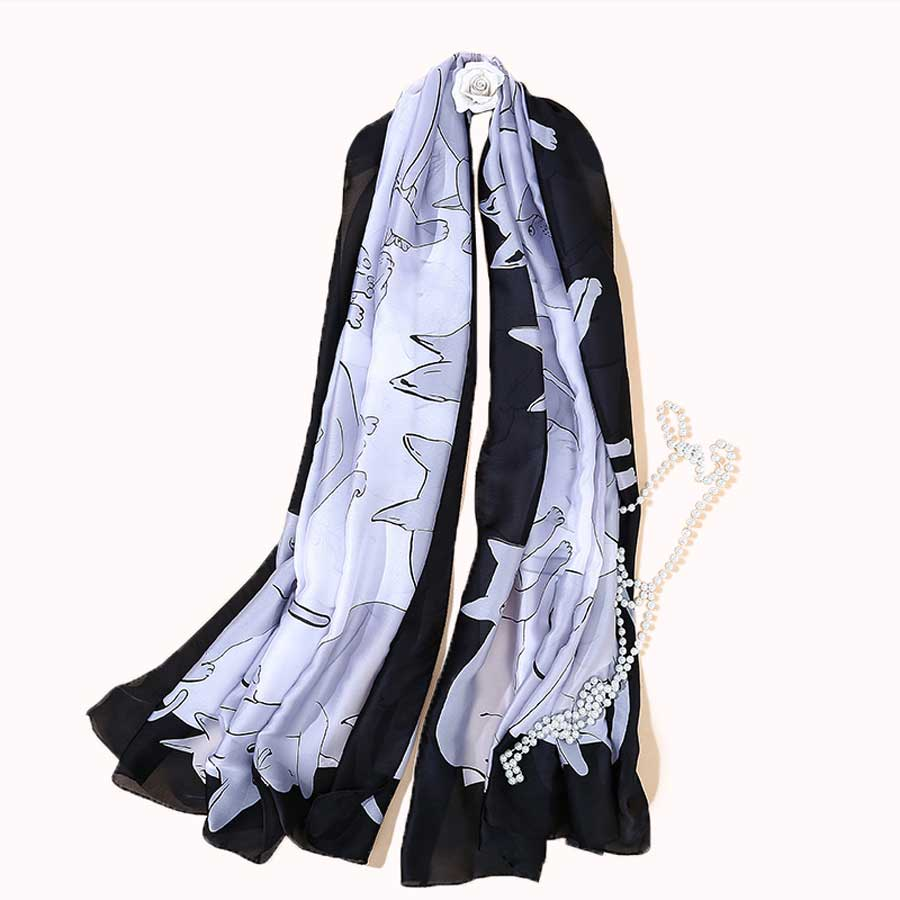 Cozy cat silk scarf