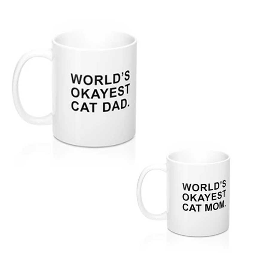 World's Okayest cat dad or mom mug