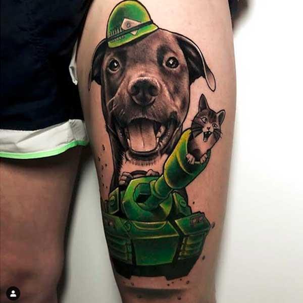 Cartoon cat and dog tattoo by Rober Villanueva