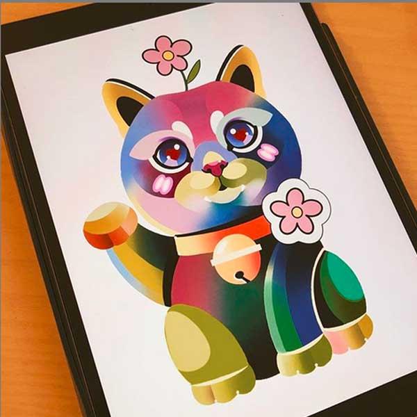 Cartoon colour cat tattoo by Tatu Moscow