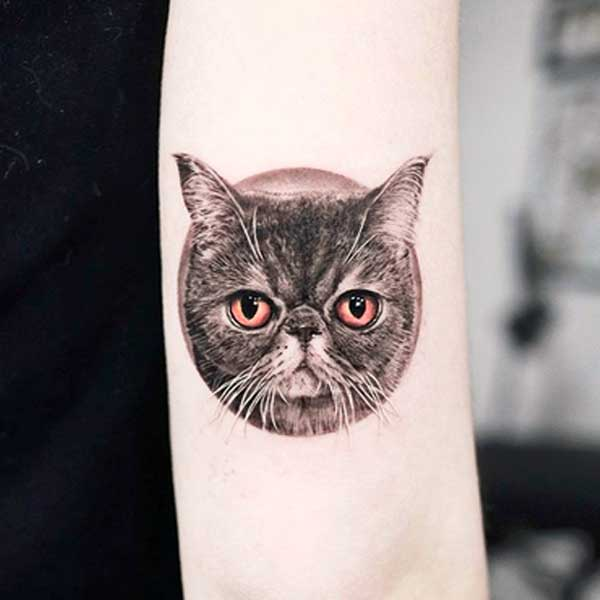 Black and white traditional cat face tattoo by tattooist_yeono