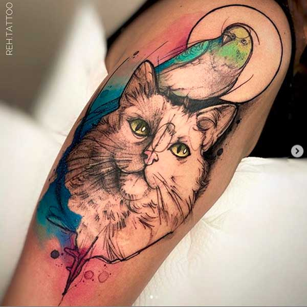 Watercolour geometric cat tattoo by Renata Henriques