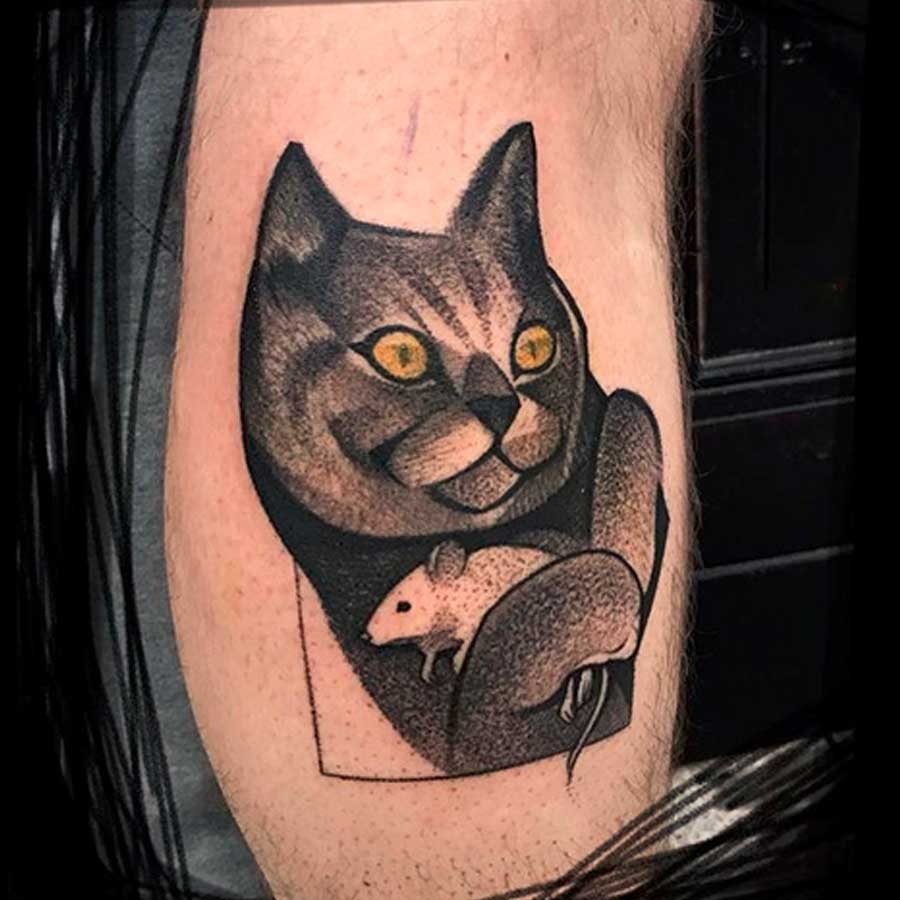 A neo traditional black cat tattoo by tai9a