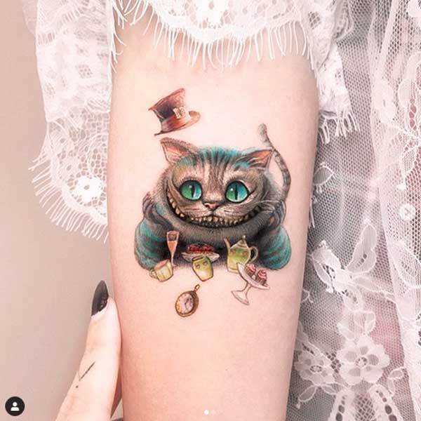 Cheshire cat tattoo, colours, by tatoot artist Edit Paints