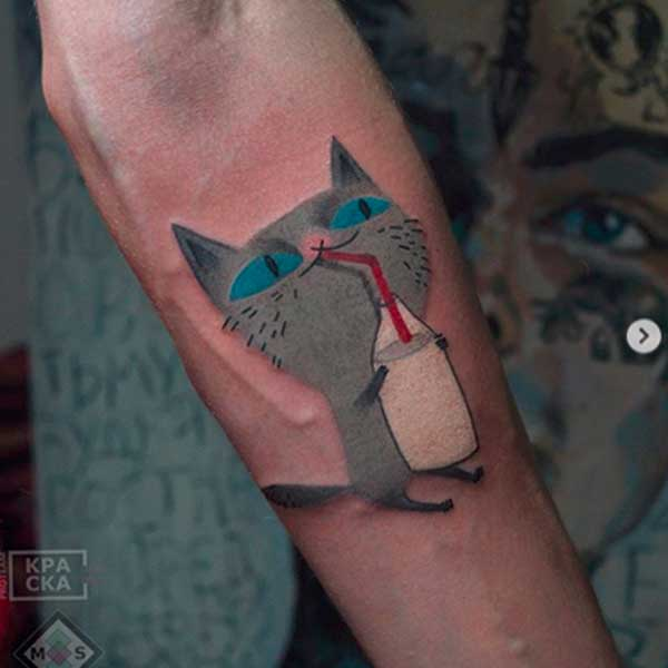 A cute kitty cat tattoo by ivolgatattoo