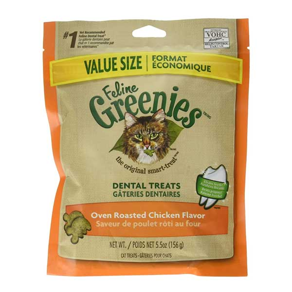 The package of Feline Greenies Dental Treats for Cats