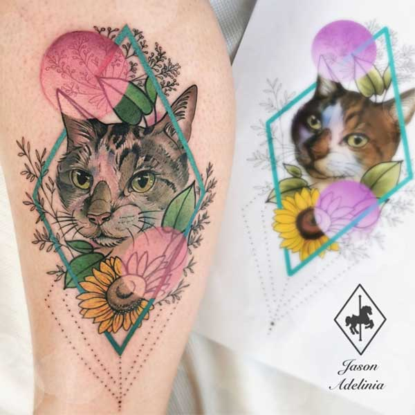 A floral cat tattoo by Jason Adelinia