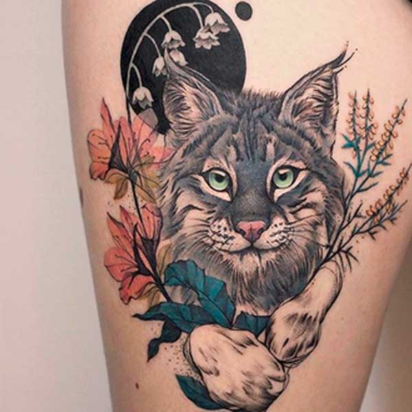 Maine coon traditional cat tattoo by Deborah Genchi