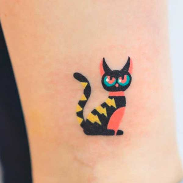 Small minimalistic black cat tattoo by zzizziboy