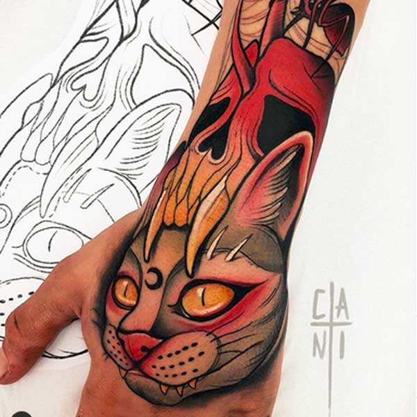 Neo traditonal colour cat face tattoo by CANTI