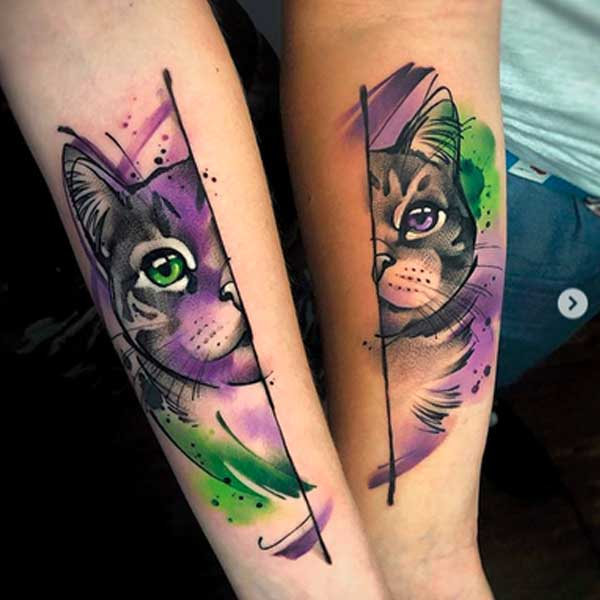 Colour traditional cat tattoo by Aleksandra Kozubska