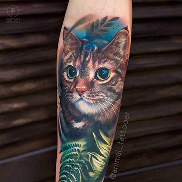 A domestic cat tattoo by Natasha Animal