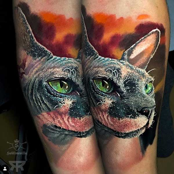 Tattoo sphynx cat by Emanuel Oliveira