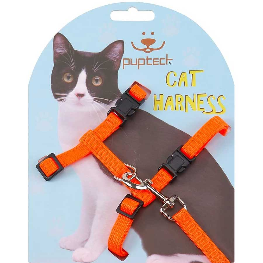 Orange cat leash and harness by PUPTECK on Amazon
