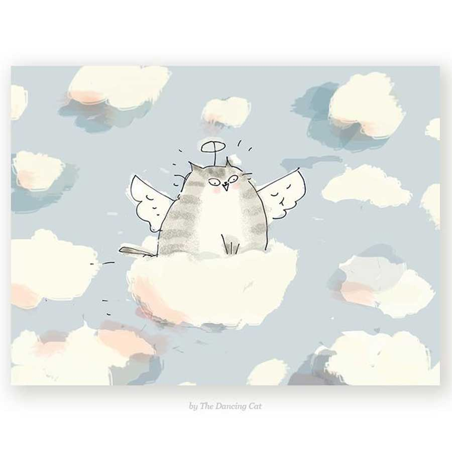 A cat loss card with a fluffy kitty in the sky