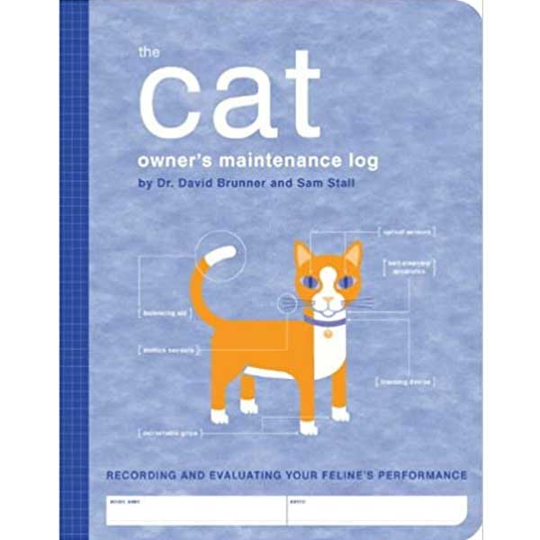 Illustratioin of a ginger cat with blues eyes on The Cat Owner's Maintenance Log David Brunner