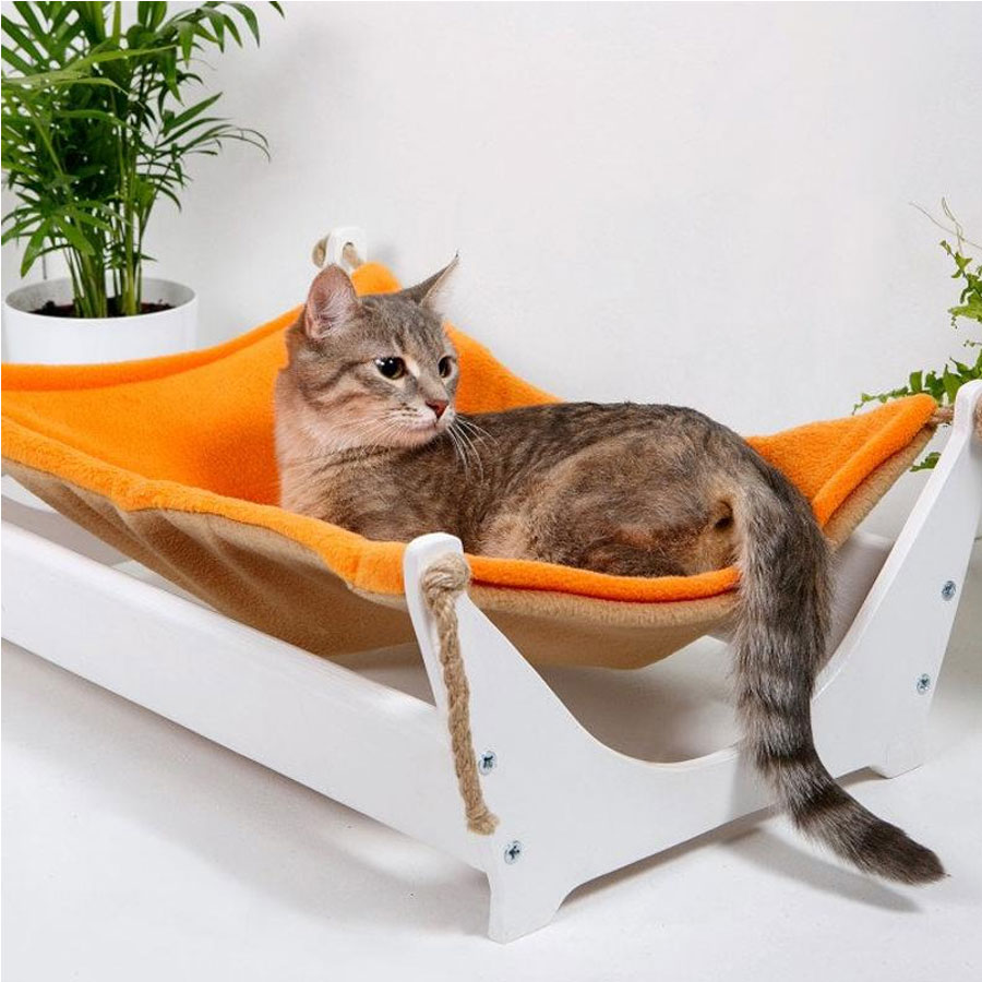 a young cat is relaxing on a cat hammock