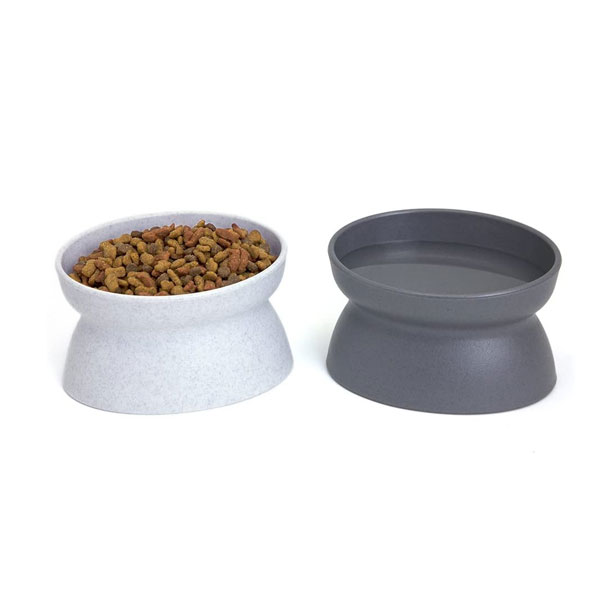a set of two elevated bowls for cats