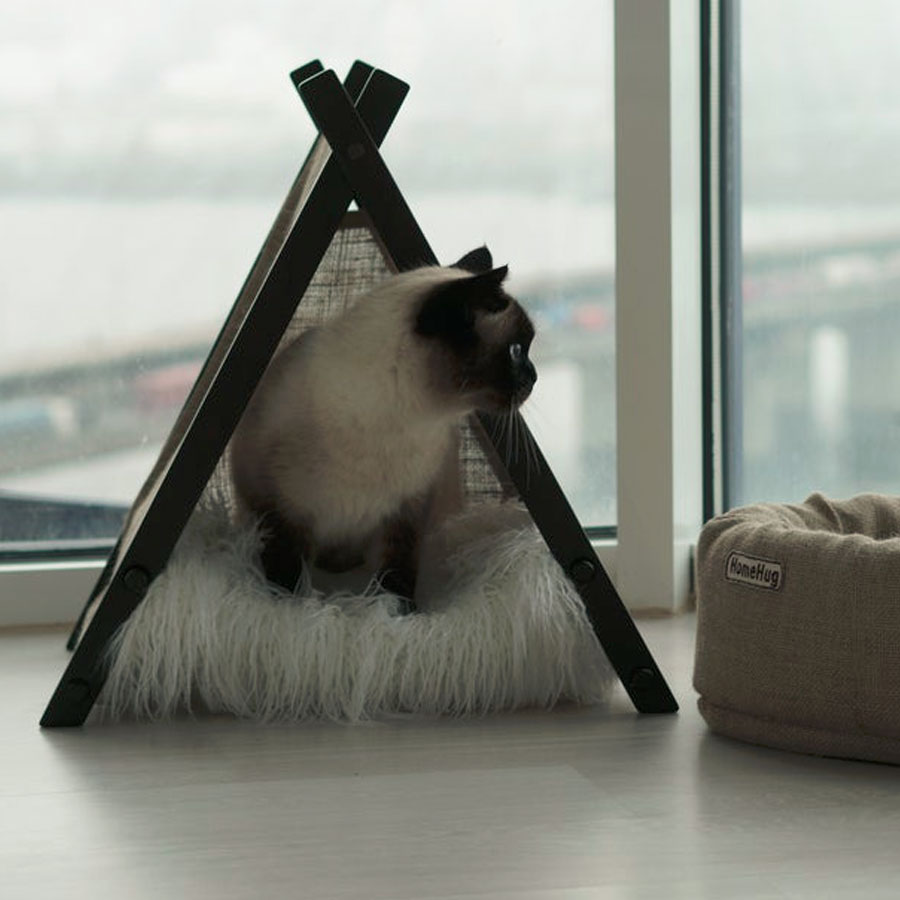 A premium cat hammock with a cat sitting inside it