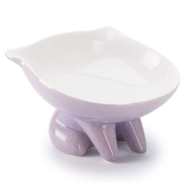 a pink ceramic cat bowl in the shape of a cat by ViviPer brand