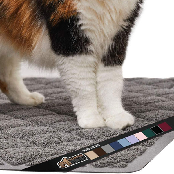 cat paws on grey premium quality durable cat litter mat