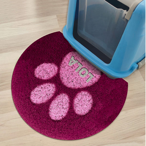 Personalised cat litter mat in dark pink color with cat paw in light pink color